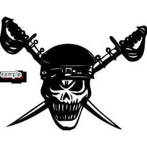 PIRATE CROSS SWORDS SKULL WHITE VINYL DECAL STICKER