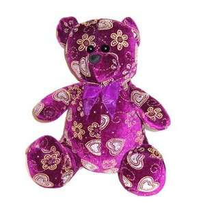VALENTINE Plush Animal   PURPLE WITH HEARTS TEDDY BEAR