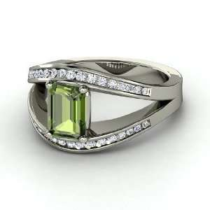 Cleopatra Ring, Emerald Cut Green Tourmaline 14K White Gold Ring with