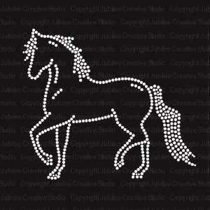 Prancing Horse Iron On Rhinestone T shirt Transfer
