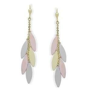 10 Karat Tri Color Gold Drop Style Earrings Jewelry