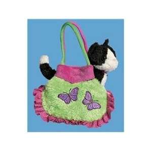 Flutter Plush Purse with Black & White Kitty Cat Toys