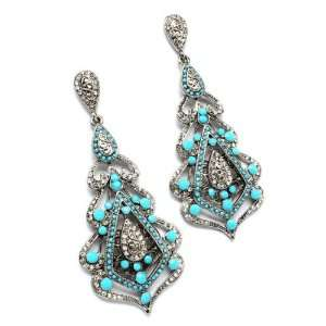 Turquoise Bead & Clear Crystal Dangle Earrings Jewelry