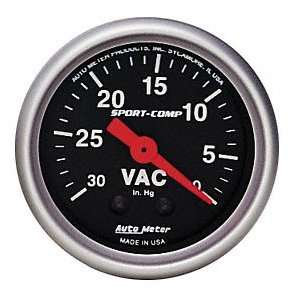Auto Meter 3484 Sport Comp 2 5/8 Mechanical Vacuum Gauge Automotive