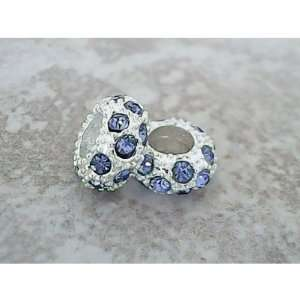 Antique Silver Baby Blue Rhinestone Crystal Spacer Bead Charm. Fits