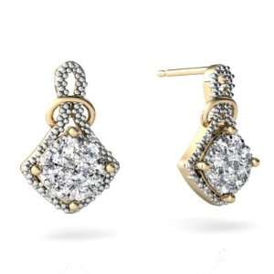 14K Yellow Gold White Diamond Antique Style Earrings Jewelry