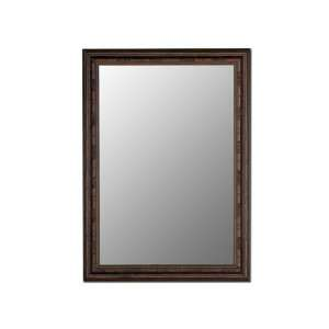 Ready to hang wall mirror framed in Lodge Dark Walnut with
