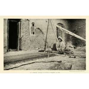 Loom Cityscape Street Scene Weaving   Original Halftone Print Home