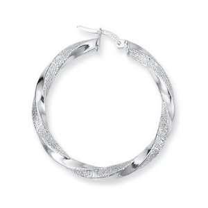 14K White Gold Twisted Hoop Earrings Jewelry