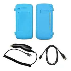 Light Blue Silicone Gel Skin Cover Case + Rapid Car Charger