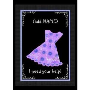 Custom Name Flower Girl Purple Dress Greeting Cards