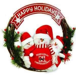 20 NCAA Nebraska Husker Happy Holidays Triple Snowman Family