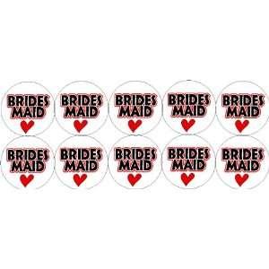 Set of 10 ~ BRIDESMAID ~ (heart love) 1.25 Pinback Button Badge / Pin