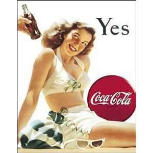 Beverage Pop Metal Tin Sign COKE Yes Girl Nostalgic