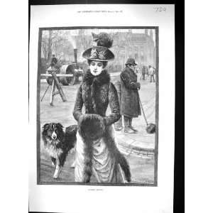 Morning Scene Road roller Man Brush Lady Fur Coat Dog