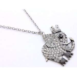 Fun King Crowned Elephant Ice Crystal Covered Charm Necklace on Long