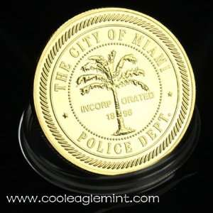 The City Of Mianmi Police Gold Plated Commemorative Coin