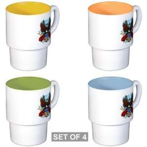 Stackable Coffee Mugs (4) Freedom Eagle Emblem with United States Flag