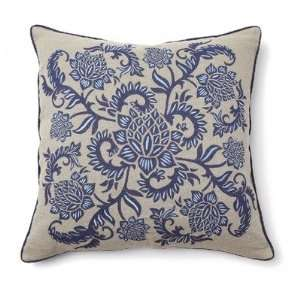 Villa Home V150308 Full Bloom Pillow in Indigo Blue (Set of 2):