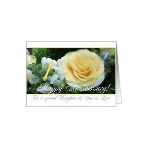1st Wedding Anniversary card for Daughter and Son in law   Yellow Rose