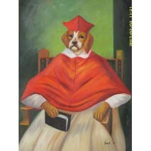 12X16 inch Animal Art Oil Painting Dog Judge In Gown:  Home