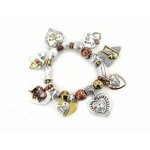 Tri Tone Heart Love Charm Bracelet Fashion Jewelry Jewelry