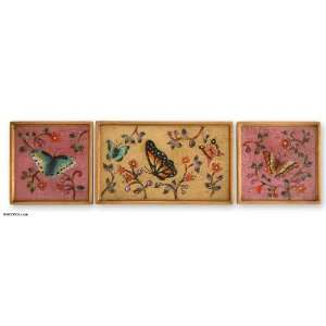 Painted glass wall art, On Velvet Wings (set of 3)