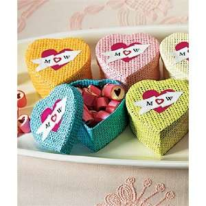 Woven Heart Shaped Blue Wedding Favor Box with Lid: