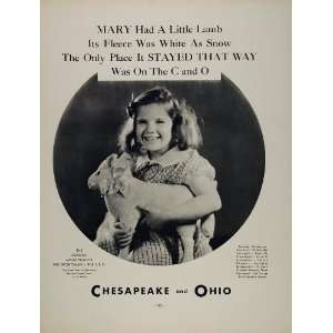 1934 Ad Chesapeake Ohio Railroad Mary Girl Toy Lamb