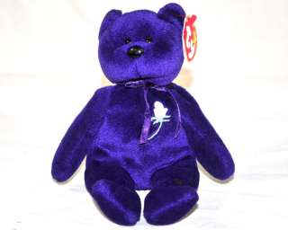 TY Beanie Baby PRINCESS DIANA Purple Bear Memorial PE