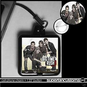 Big Time Rush CELL PHONE CHARM + BUTTON pin badge 1806