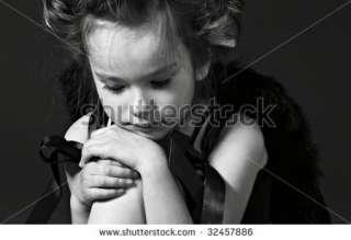 Monochrome Portrait Of The Little Sad Girl Stock Photo 32457886