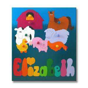 Wooden Name Puzzle Farm Animals Toys & Games