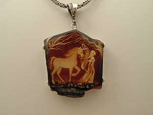 NATURAL HAND CARVED AMBER PENDANT NECKLACE FAIRY W UNICORN 925