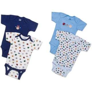 Gerber Newborn Boys 4 Pack Assorted Short Sleeve Onesies ?