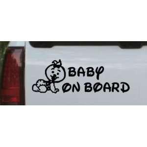 Black 44in X 15.3in    Baby On Board (Girl) Car Window Wall Laptop