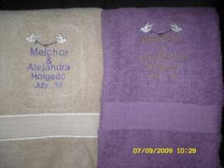 Personalized EMBROIDERED BEACH bath Towel Wedding 5Ft