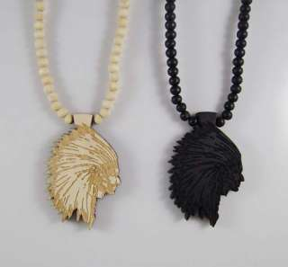 chief Head Good wood style Pendant Necklace Hip Hop Jewelry Tank Black