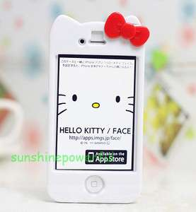 White Hello Kitty Bow Hard Case Cover skin for iPhone 4 4G