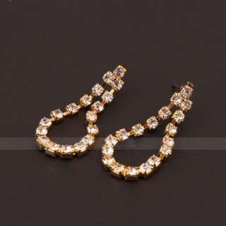 Wedding Bridal Jewelry Necklace Stud Earrings Set Gold