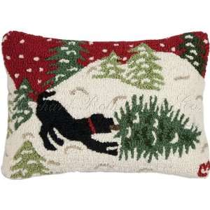 Black Lab Christmas Tree Snow Holiday Decorative Pillow 18 x 18 FREE