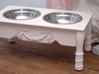 Shabby Cottage Chic 7 Raised Pink Pet Dog Cat Feeder