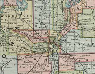 map showing cities town railroads and topography close up detail below