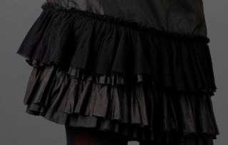 EILEEN FISHER $158 Washed Taffeta Silk Ruffle Skirt BLACK 828486499107