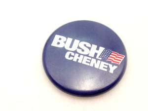 BUSH & CHENEY Election U.S. FLAG Campaign Button Pin