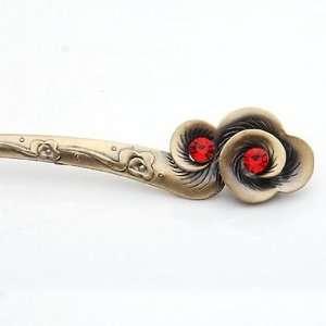 Alloy Rhinestone(Bright Red) Flowers Pattern Hair Pins /Sticks /Clips