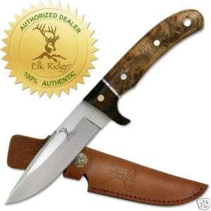 Elk Ridge Genuine Burl Wood Hunting Skinning Knife NEW