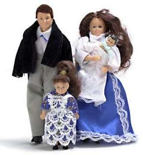 Dollhouse Miniature vinyl Victorian doll family people Dad/Mom/girl