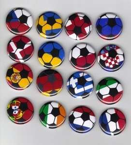 16 Euro Soccer Flags * Badges Buttons Pins Lot All 16 Euro 2012 Flags