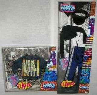 Flavas HAPPY D 2 OUTFIT Hip Hop Denim Mattel Barbie MIB